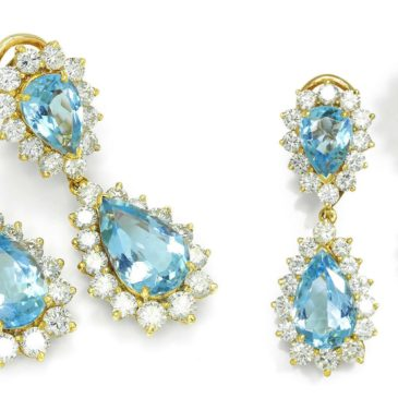 Estate Aquamarine Teardrop Dangle Earrings with Diamonds 18K 13.20ctw