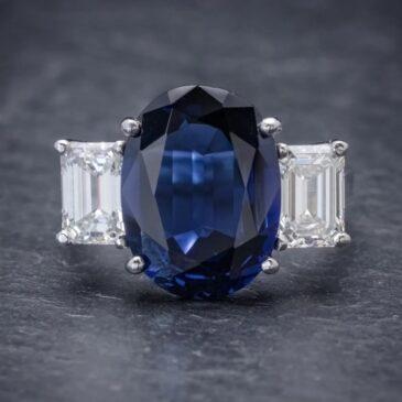Natural Blue Sapphire Trilogy Ring 6.96ct Sapphire 2.07ct Diamond Platinum