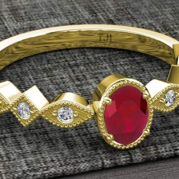 Magnificent Oval Cut Ruby Round Diamond 1 ctw Marquise Square Milgrain Ring 14K Gold