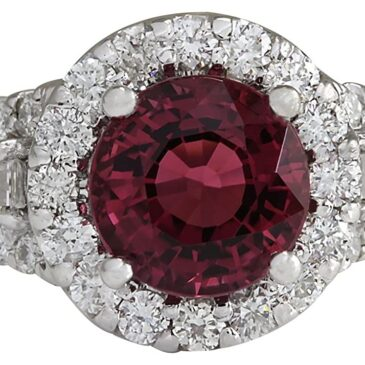 Gorgeous 4.02 Carat Natural Pink Tourmaline and Diamond 14K White Gold  Ring