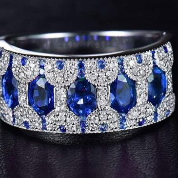 Spectacular 1.58CT Natural Oval Sapphire and Diamond Stackable Band Ring 14k Gold