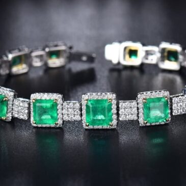 Gorgeous14K/18K White Yellow Gold Colombian Emerald Diamond Bracelet