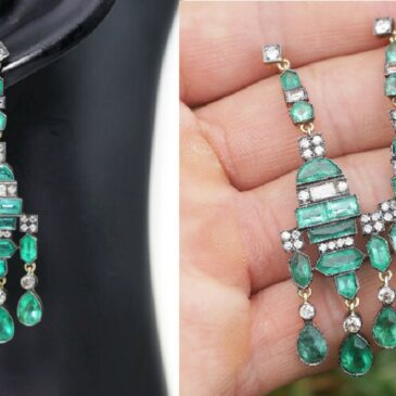 Antique Victorian Emerald Earrings with Diamonds Silver-Topped Gold