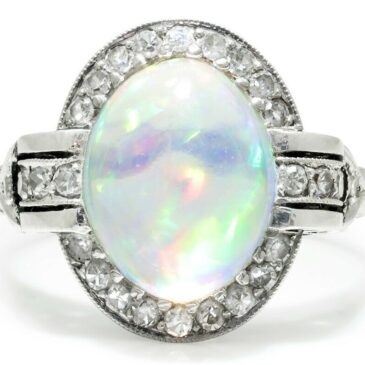 Art Deco Jelly Opal Ring with Diamonds Platinum 3.66ctw