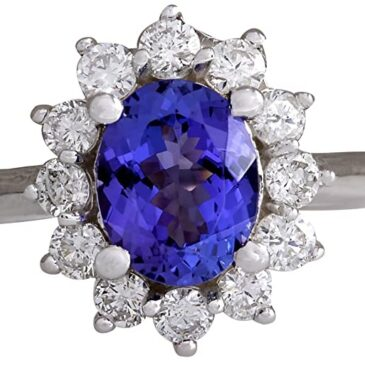 A Gorgeous 2.45 Carat Natural Blue Tanzanite and Diamond Ring