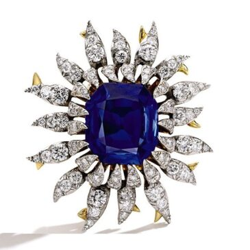 Schlumberger Sapphire and Diamond Brooch