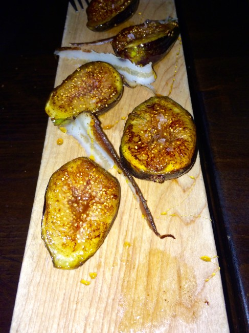 grilled Black Mission fig halves drizzled with buckwheat honey