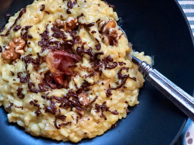 Italian Blue Goat Cheese Risotto and Xocopili Chocolate