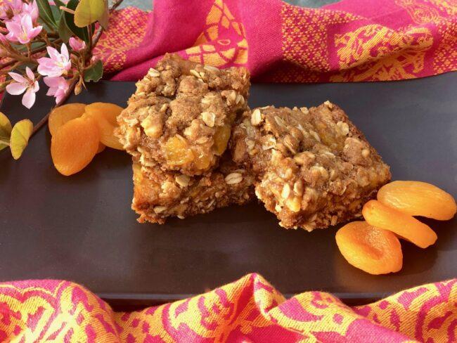 oatmeal walnut bars with blood orange jam and apricots