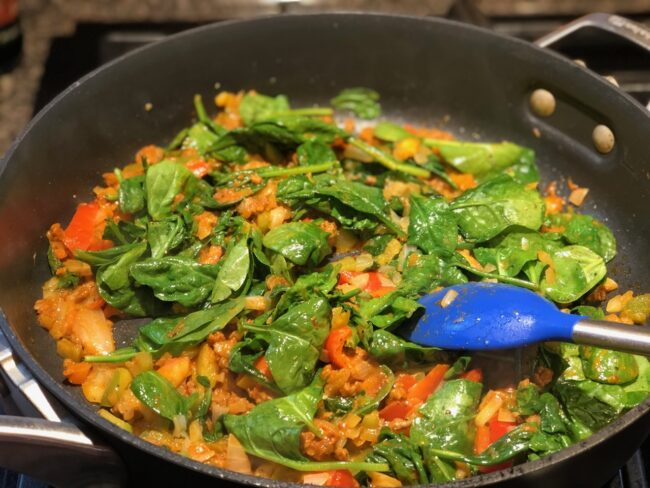 sautéing spinach and soy chorizo