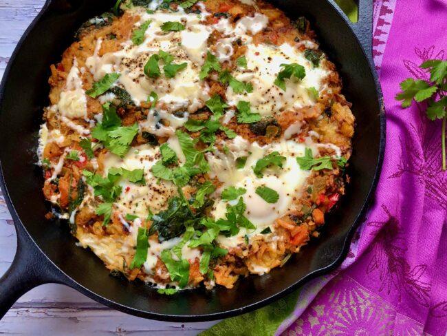 Potato, Soy Chorizo and Veggie Hash with Eggs