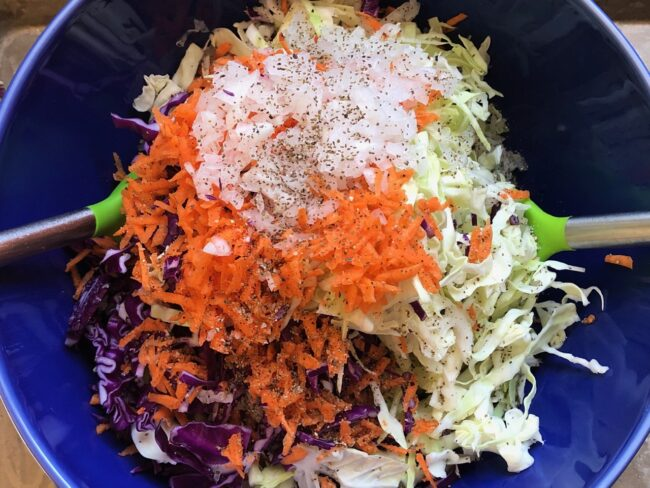 salad bowl with cabbages, carrots and white onion