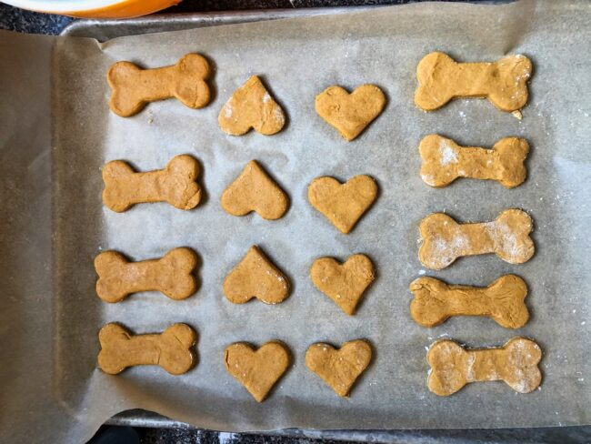 Peanut Butter & Pumpkin Dog Biscuits out of the oven