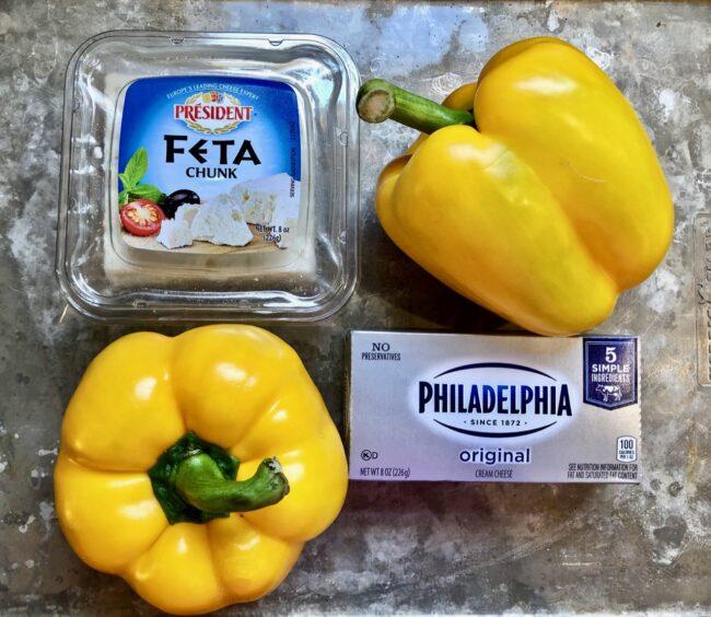 Roasted Yellow Pepper Feta Dip Ingredients