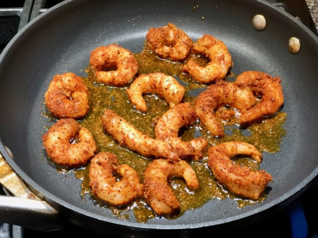 shrimp cooking in the skillet