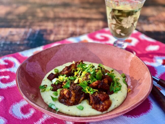 Spanish Style Shrimp served over grits