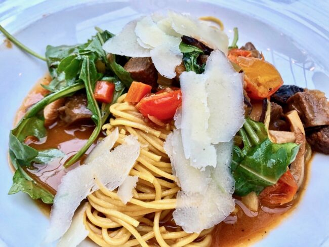 Angel Hair Pasta with ribeye in a mushroom Demi-Glace sauce
