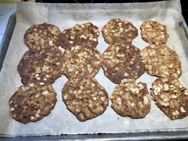 oatmeal spice cookies on a baking sheet