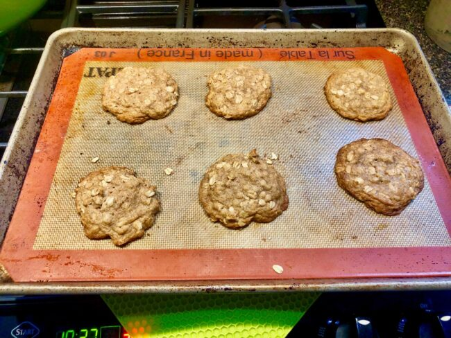 oatmeal spice cookies out of the oven