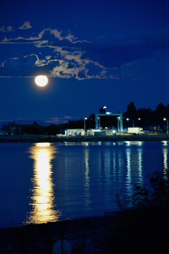 Full moon over the Little River Ferry
