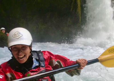 Kayaking Waterfall on Rio Palguin in Chile
