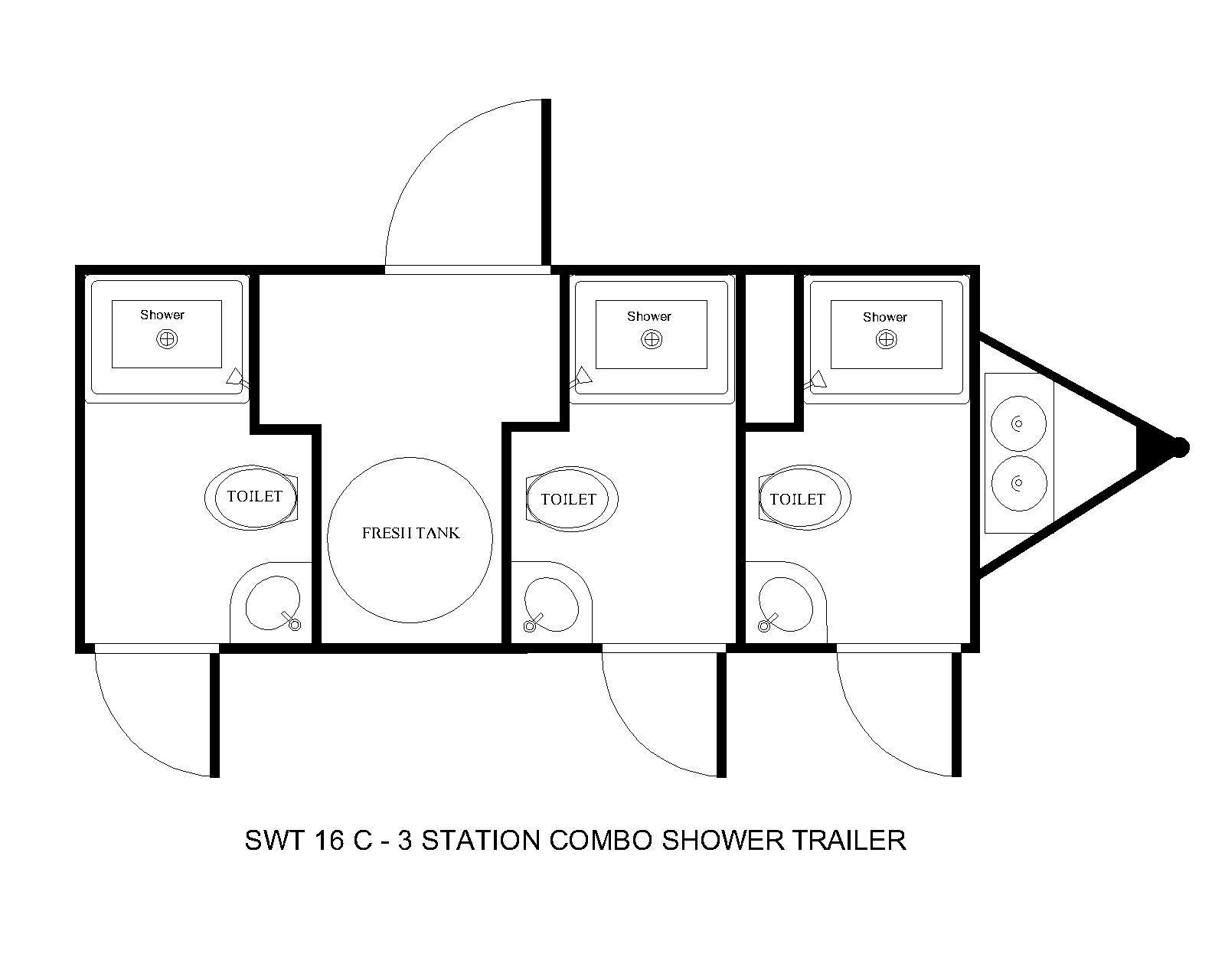 three station shower combo floor plan