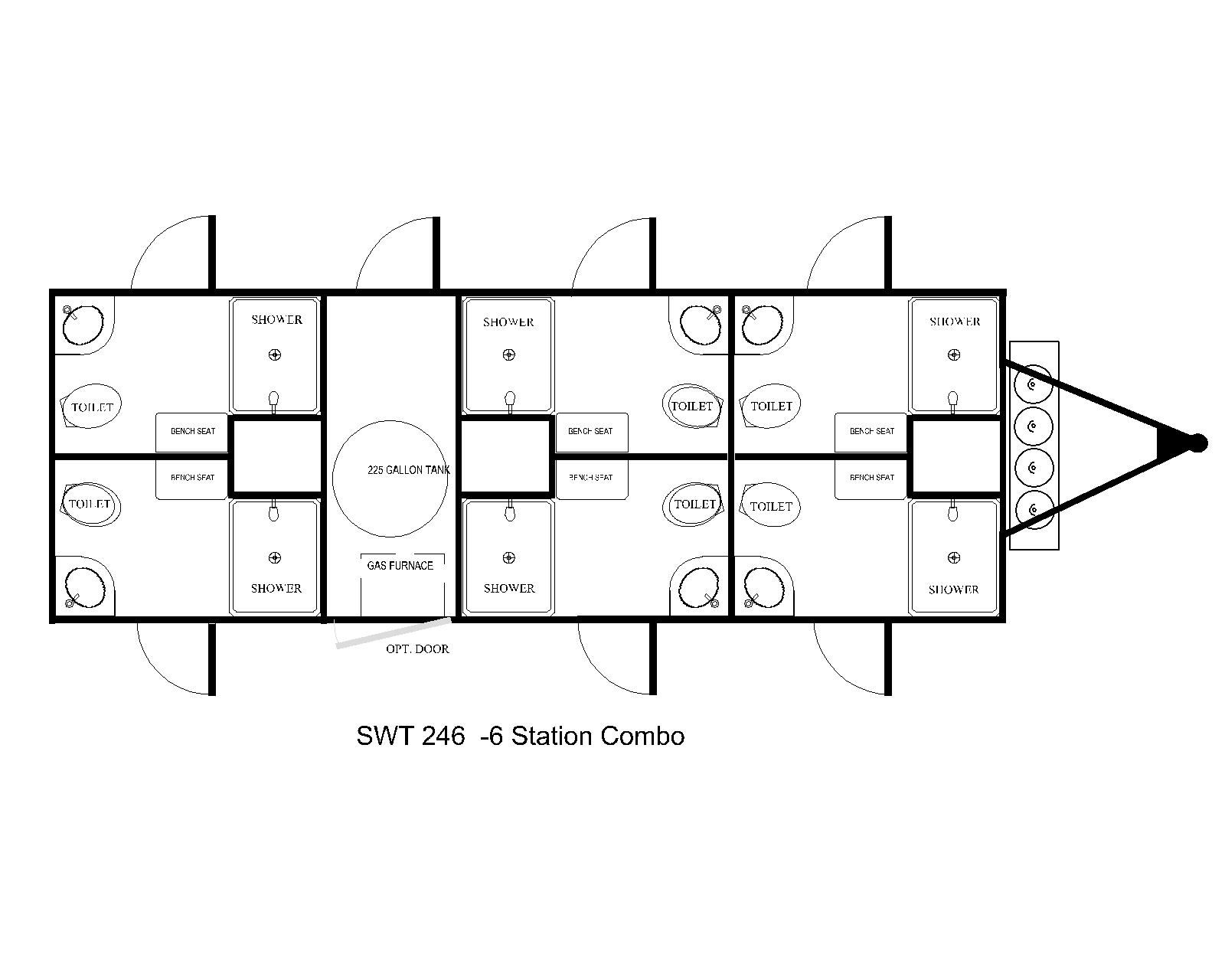 six station shower combo floor plan