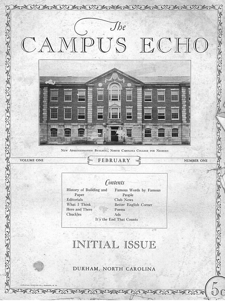 February, 1930 issue of the NC Central University Campus Echo.