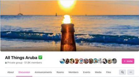 'All Things Aruba' cu 51+ mil miembro: Un plataforma creciente unda turista y local ta topa otro