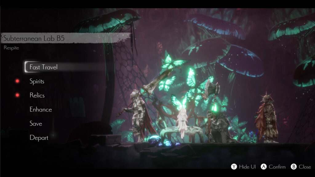 ENDER LILIES: Quietus of the Knights gameplay image of interactive menu