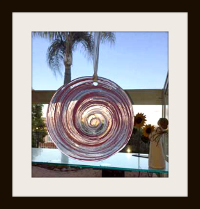 Blown Glass Rondel with Pink & Purple Mix