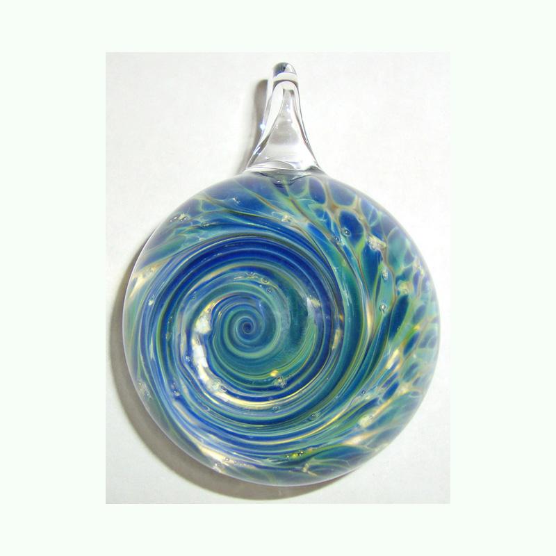Aquatic Rhapsody Pendant Blown Glass Cremation Art by Tiffany Koehn