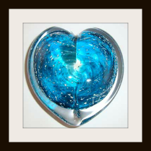 Blown Glass Heart Sculpture with Turquoise