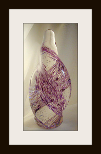 Free Form Blown Glass Sculpture with Purple Mix