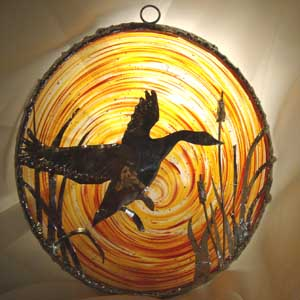 Blown Glass Rondel with Goose