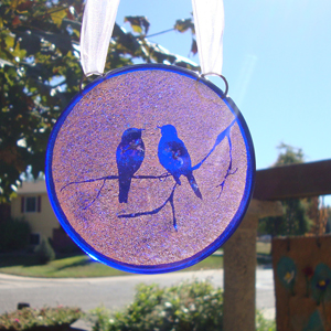Fused Glass Round with Birds