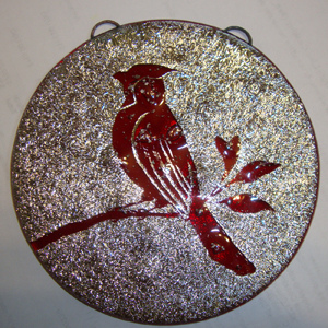 Fused Glass Rondel with Cardinal