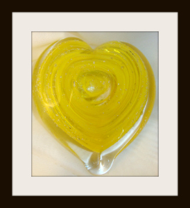 Blown Glass Heart Sculpture with Yellow Mix