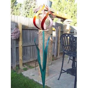 Handmade Copper Tulip Whirlygig