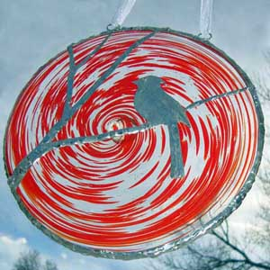 Blown Glass Rondel with Cardinal