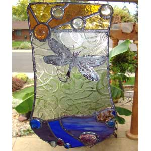 Stained Glass Panel with Dragonfly