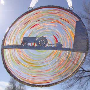 Blown Glass Rondel with Farm Scene