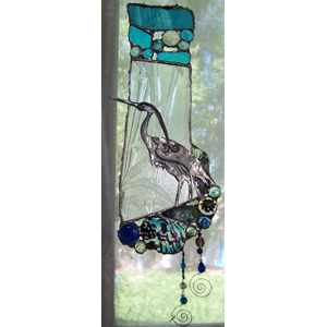 Stained Glass Panel with Heron
