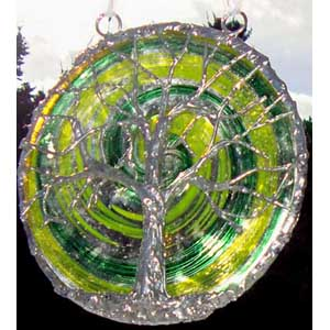 Blown Glass Rondel with Tree