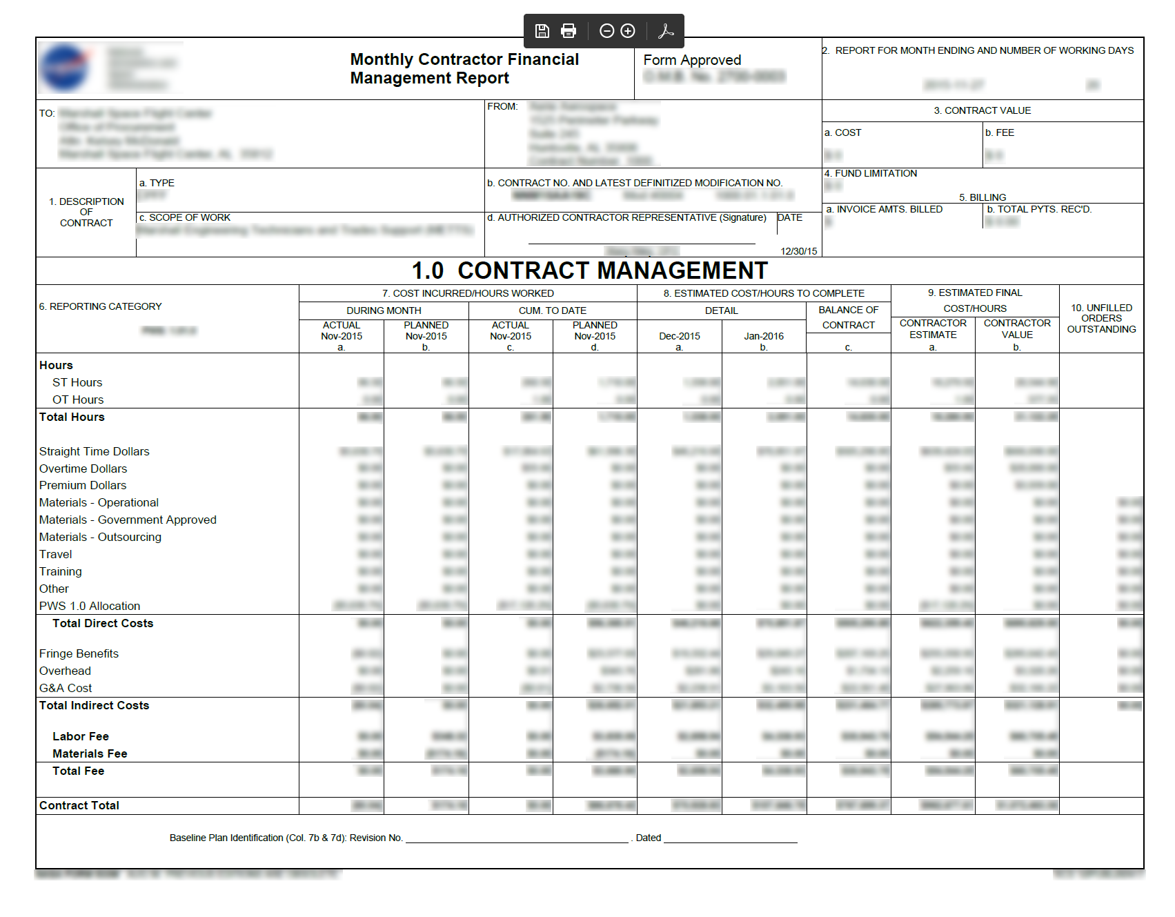 Monthly Financial Management Report