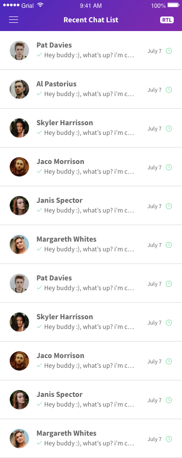 Recent Chat List Page Xamarin.Forms XAML