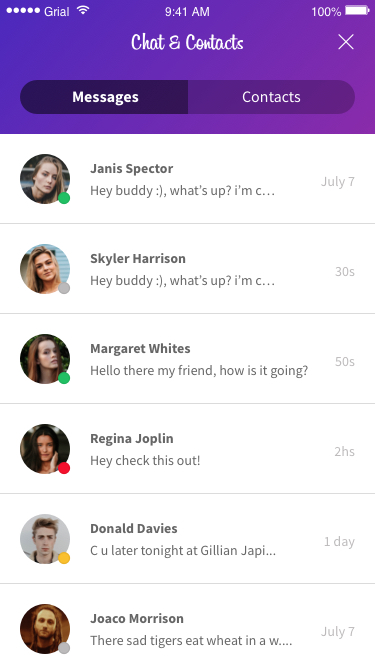 Chat Main Messages Page Xamarin.Forms XAML