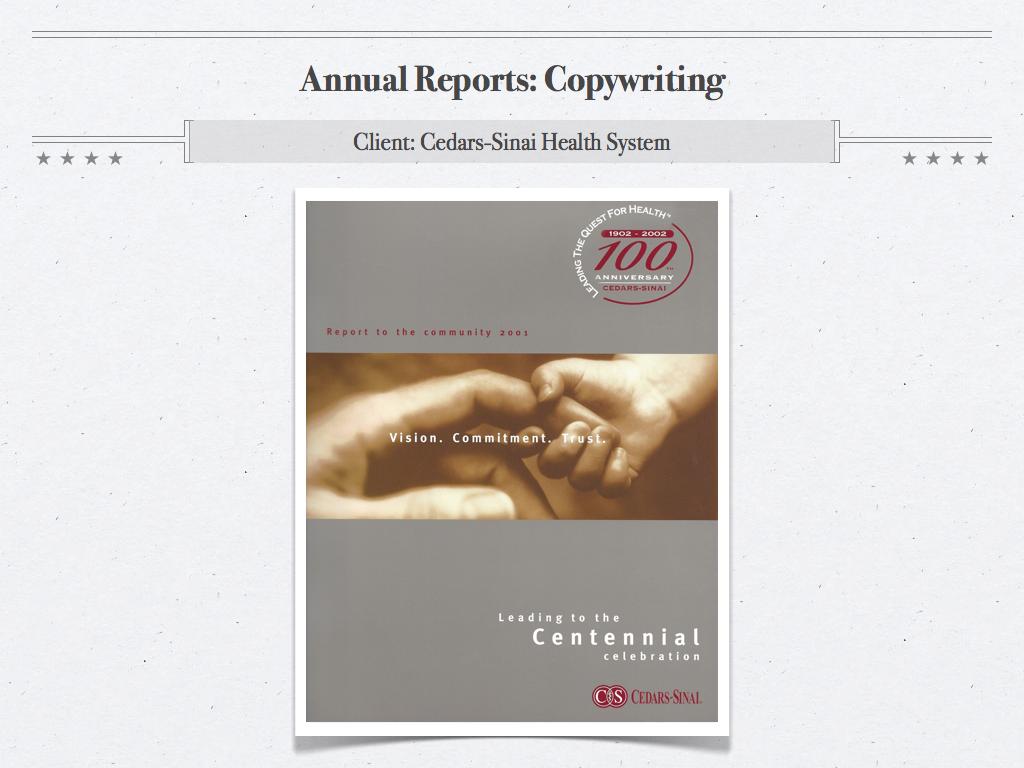 CSHS Annual Report, 2001