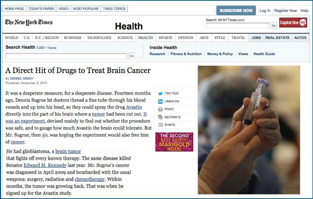 New York Times: Avastin Direct Hit