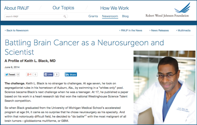 Robert Woods Johnson Foundation: Profile of Keith Black, MD.